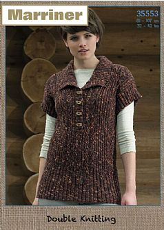 35553 Rib and Lace Tunic in Marriner DK