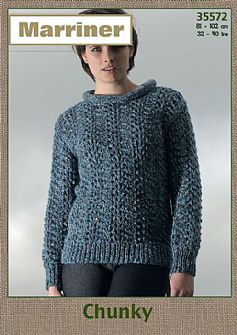 35572 Wave stitch Sweater with Cowl/Roll neck in Chunky