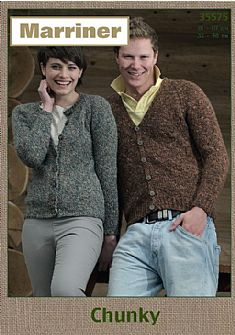 35575 His and Her Round and V Neck Cardigans in Marriner Chunky