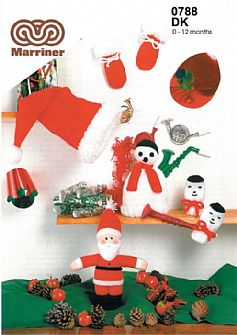 M0788 Hats and Mitts Set Father Christmas Doll in Dk