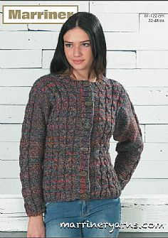 35736 Mock Cable Cardigan and Sweater Vest in Marriner Chunky