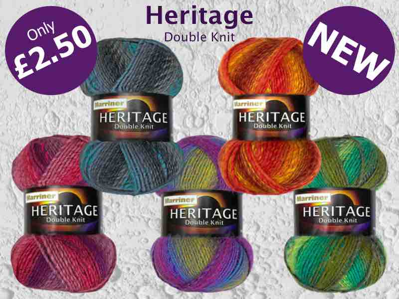 New Heritage Double Knit yarn from MarrinerYarns.com. Only £2.50 (100g)