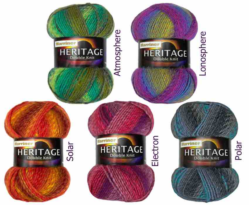 New Heritage double knit yarn from MarrinerYarns.com in 5 beautiful colours. Only £2.50 (100g).