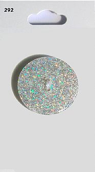 White Round Glitter Button 292
