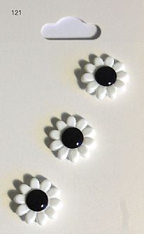 White and Black Flower Buttons 121