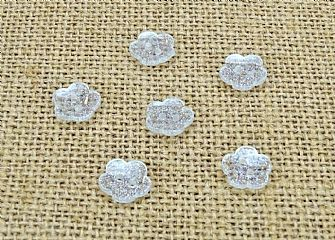 Clear Glitter Flower Buttons 015