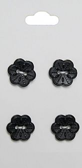 Black Flower Buttons 214