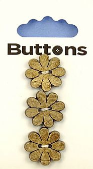 Wooden Effect Flower Buttons 458