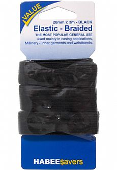 Braided Elastic 20mm x 3m Black