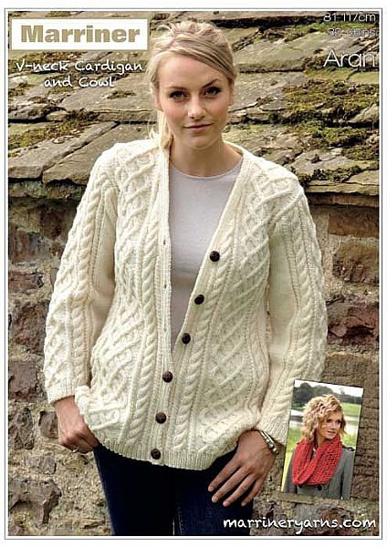 35704 V-Neck Cardigan and Cowl in Aran