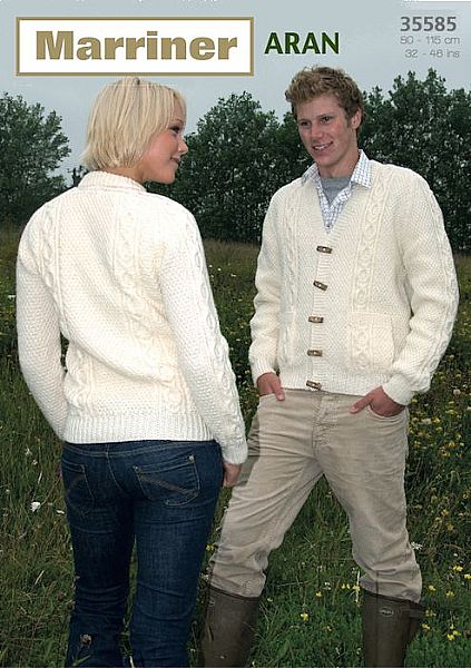 35585 Round and V Neck double moss st jackets in Aran