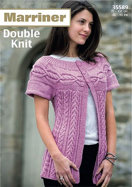 35589 Ladies Cable Cardigan in Marriner DK