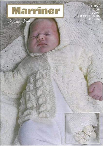 11054 Matinee Coat Bonnet Bootees Mitts & Shawl in DK