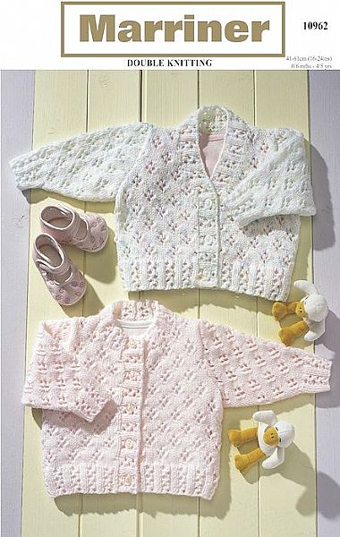 10962 Round and V Neck Lace Cardigans in DK
