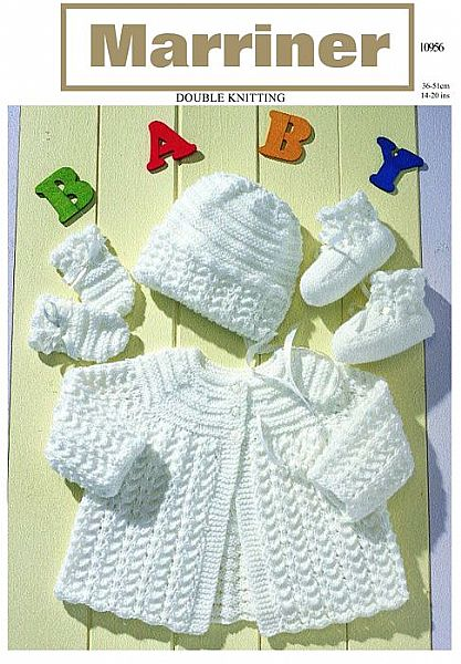 10956 Matinee Coat Bonnet Mittens and Bootees in DK
