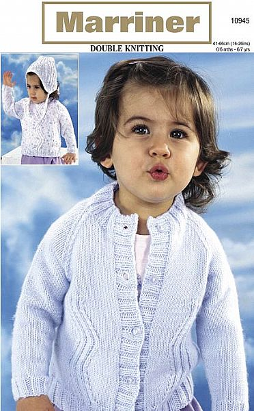 10945 Sweater Cardigan and Hat in DK