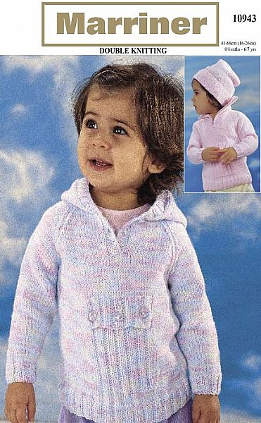 10943 High Neck or Hooded Top and Hat in DK