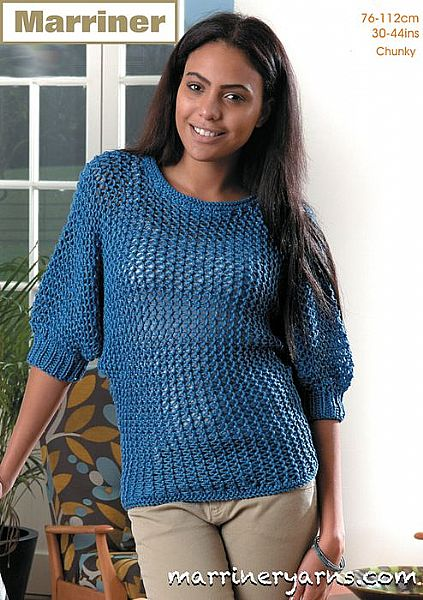 35712 Batwing Sweater in Marriner Chunky