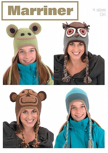 35708 Crochet Animal Hats in Marriner Double Knit