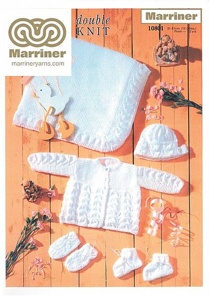 10801 Matinee Coat Bonnet Bootees Mitts and Shawl in DK