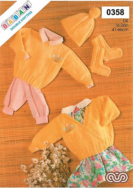 M0358 Sweater Cardigan Cap and Bootees in Dk