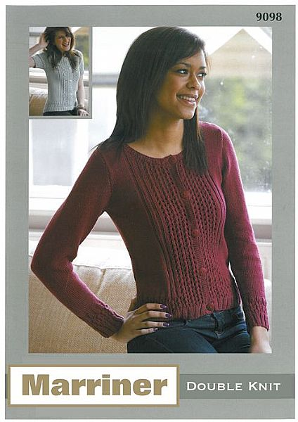 M9098 Knitted Cardigan with Textured Bands in DK