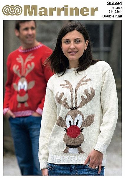 35594 Rudolph Sweater Pattern in Marriner DK