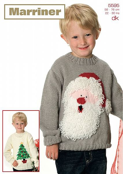 35595 Santa and Tree Christmas Sweaters in Marriner DK