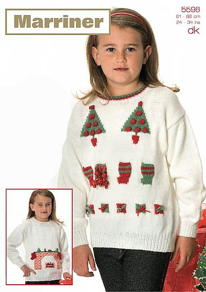 35596 Fireplace, Parcels & Trees Sweater Christmas Crochet Pattern in DK