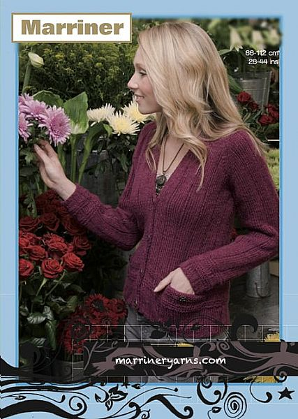 35443 Cardigan with Pockets in Marriner Aran
