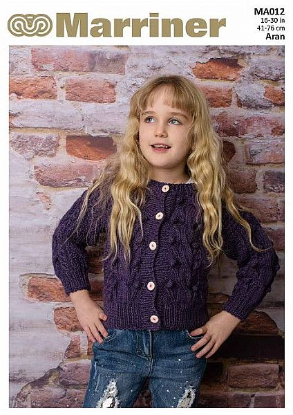 MA012 Round Neck Cable Cardigan in Aran