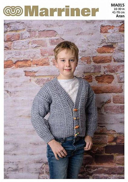 MA015 Kids' Cable Cardigan in Aran