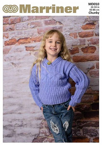 MD010 V-neck Button Jumper with Cross Pattern
