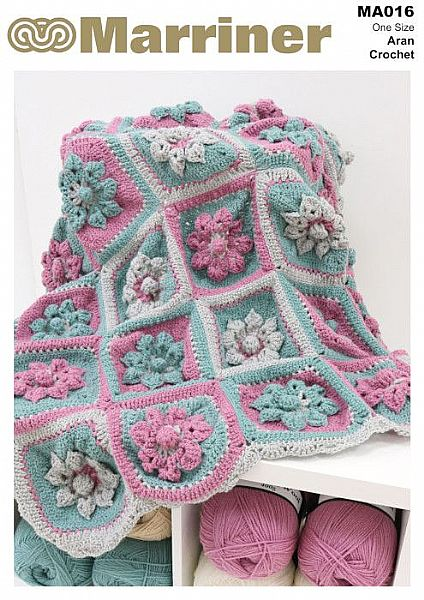 MA016 Flower Garden Throw Crochet Pattern in Aran