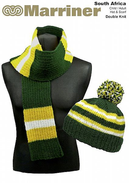 South Africa Hat & Scarf pattern in Double Knit