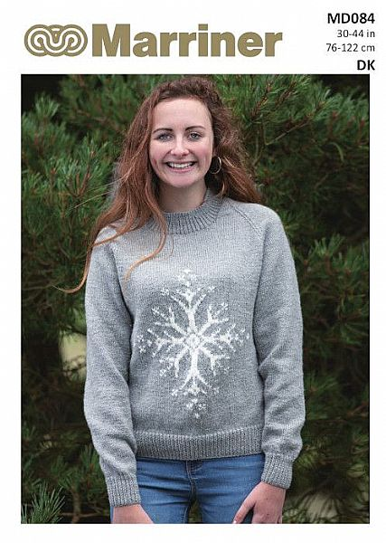 MD084 Snowflake Christmas knit jumper in DK