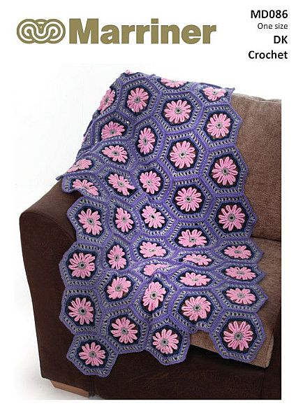 MD086 Crochet Hexagon Flower Blanket in DK
