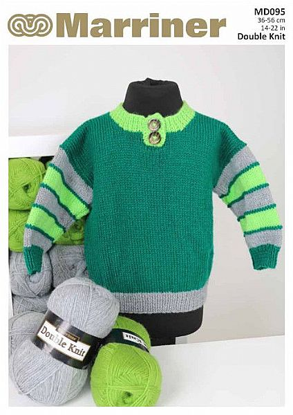 MD095 Boys Three colour Knit Jumper in DK