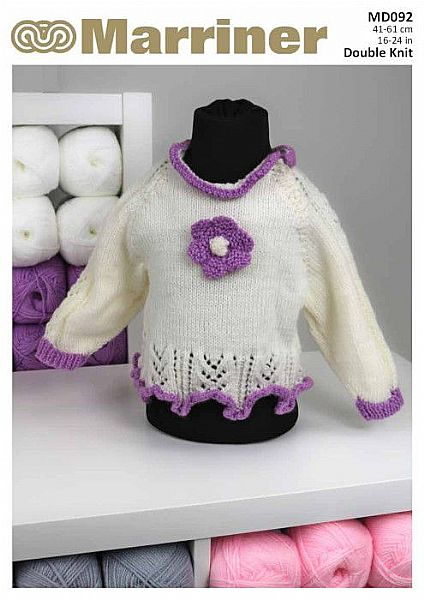 MD092 Children's Raglan cardigan and tunic knit pattern in DK