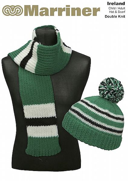 Ireland Hat & Scarf pattern in Double Knit
