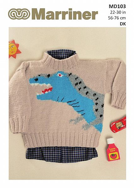 MD103 Dinosaur Kids jumper in Double Knit