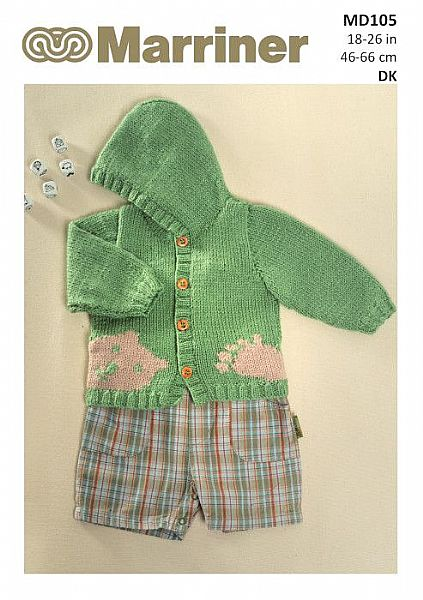 MD105 Children's Bear Hooded Cardigan in Double Knit