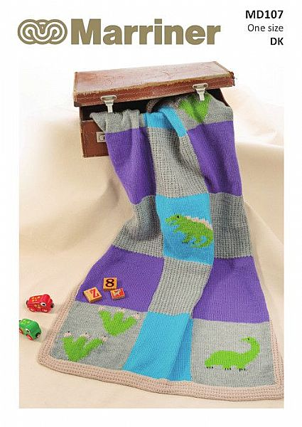 MD107 Dinosaur Blanket in Double Knit