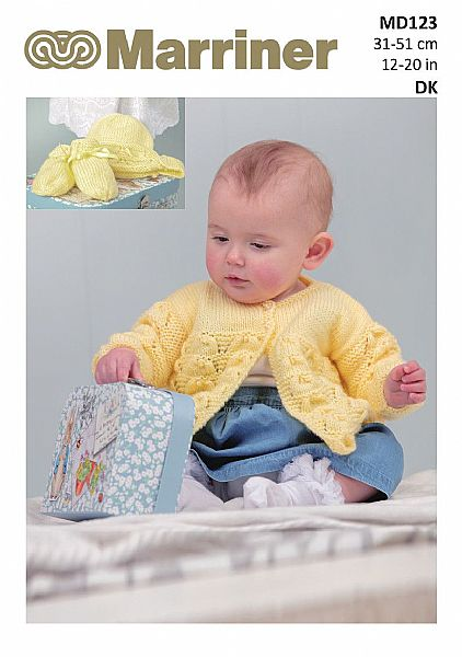 MD123 Matinee Coat Bonnet Bootees and Mitts in DK