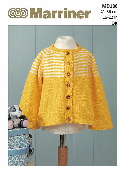 MD136 Jacket with Lace or Striped Yoke in DK