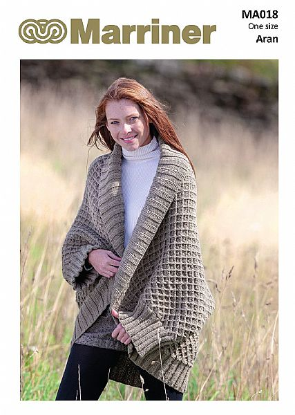 MA018 Shawl Collar Wrap Knitting pattern in Aran