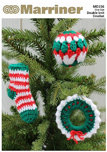 MD156 Christmas Tree Decoration Set Crochet Pattern