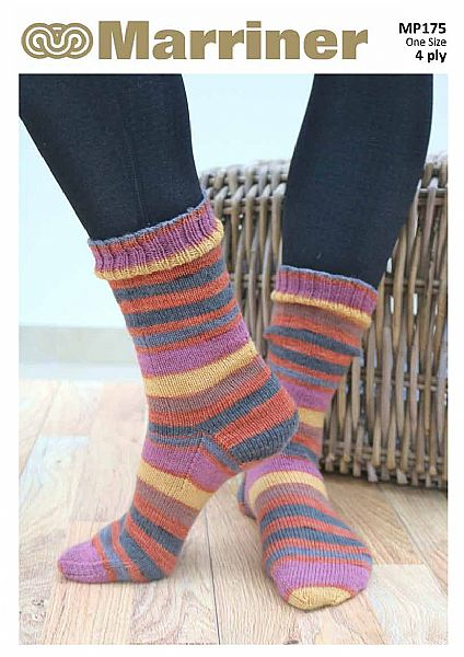 MP175 Cosy toes 4 Ply Sock Knitting Pattern on DPNs