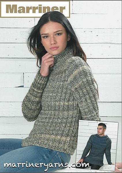 35734 Unisex Mock Fishermans Rib Sweater in Marriner Chunky