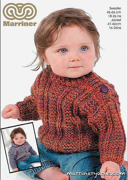 35737 Ribbed Sweater and Jacket in Marriner Chunky